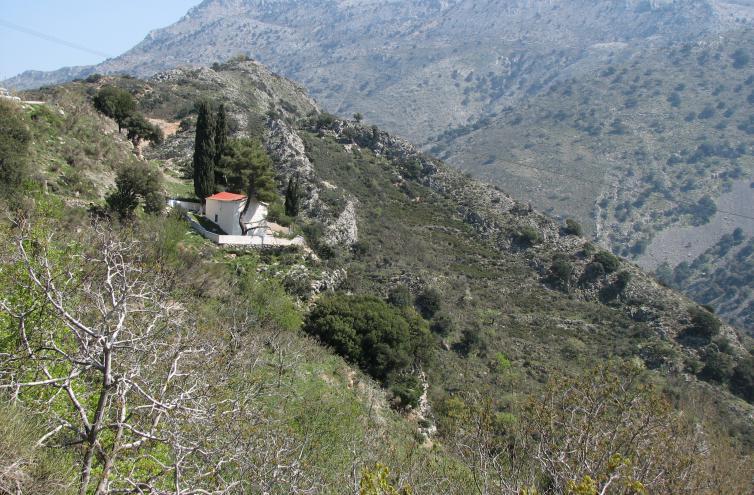 echte zypressen vor einer kapelle in den kretischen bergen. Black Bedroom Furniture Sets. Home Design Ideas